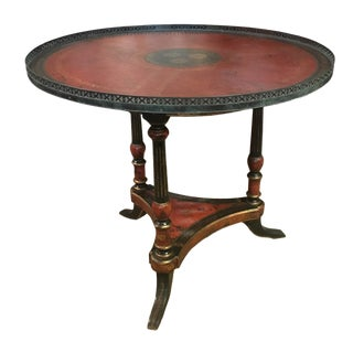 1980s English Traditional Tooled Leather Center Table For Sale