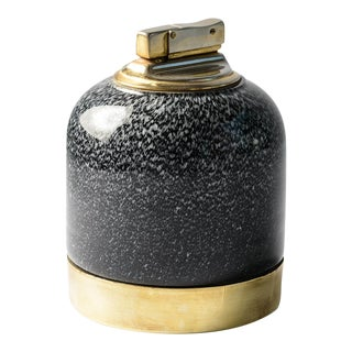 Italian C.1960 Signed Tommaso Barbi Murano Glass & Brass Table Lighter For Sale
