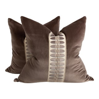 Dark Taupe and Cream Geometric Tape Pillows, a Pair For Sale
