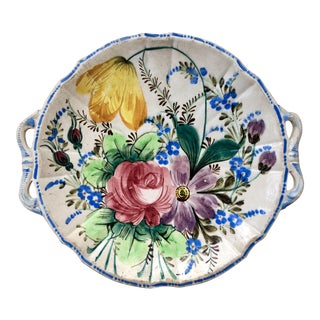 Vintage Chippy Hand Painted Italian Ceramic Floral Platter For Sale