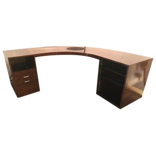 Rosewood Demilune Mid-Century Modern Jewelers or Large Office Desk For Sale