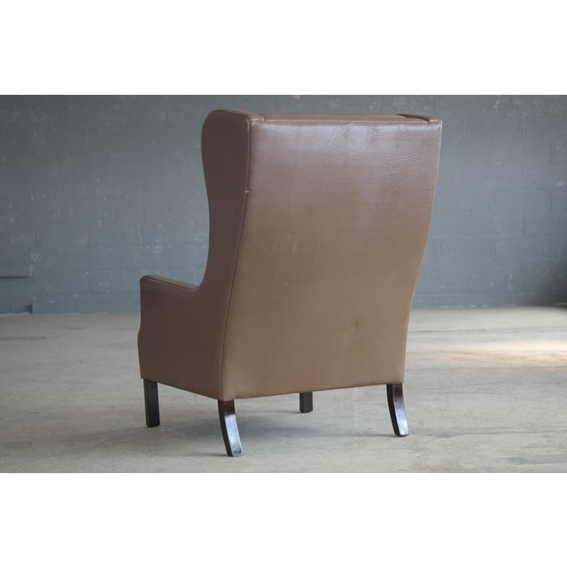 Borge Mogensen Style Leather Wingback Chair - Image 7 of 8