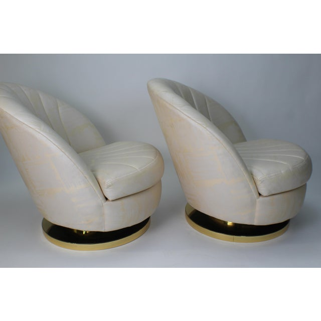 Modern 1980s Modern Milo Baughman for Thayer Coggin Gold Swivel Chairs - a Pair For Sale - Image 3 of 13