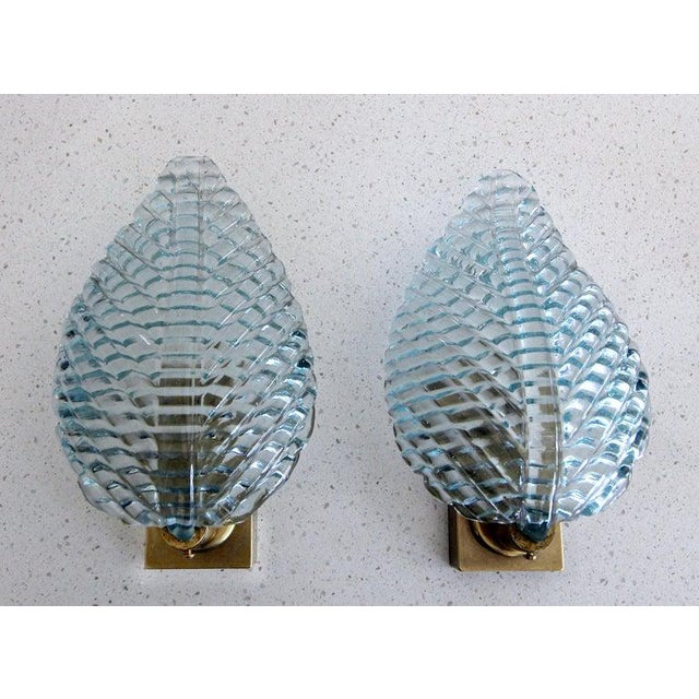 1950s Barovier Murano Aqua Blue Leaf Glass Wall Sconces - a Pair For Sale In Palm Springs - Image 6 of 12