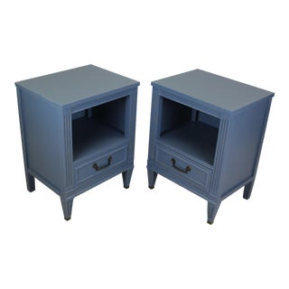 Mid Century Blue Nightstands - a Pair