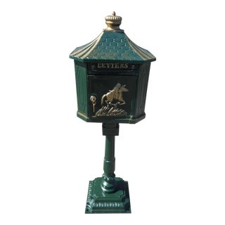 Cast Iron Locking Mailbox on Post For Sale