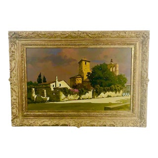 Vintage Mid-Century The Monastery's Well Framed Painting For Sale