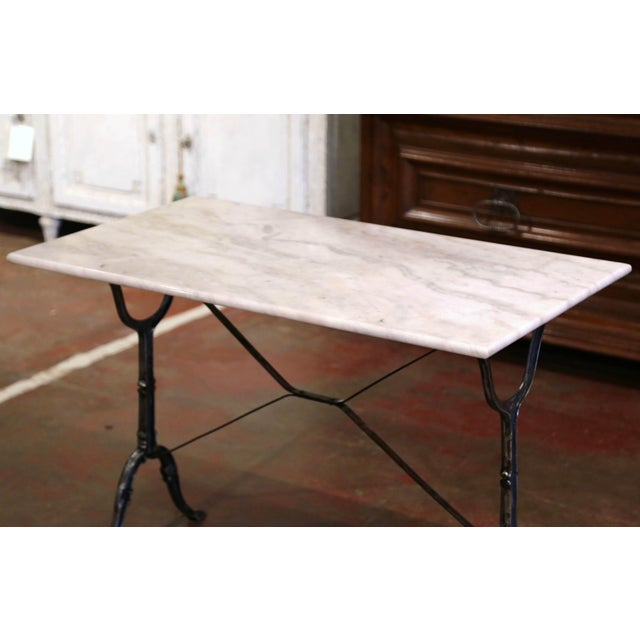 French Early 20th Century French Polished Iron and Marble-Top Bistrot Table For Sale - Image 3 of 10