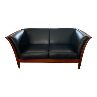 Maurice Villency Italian Leather Loveseat For Sale