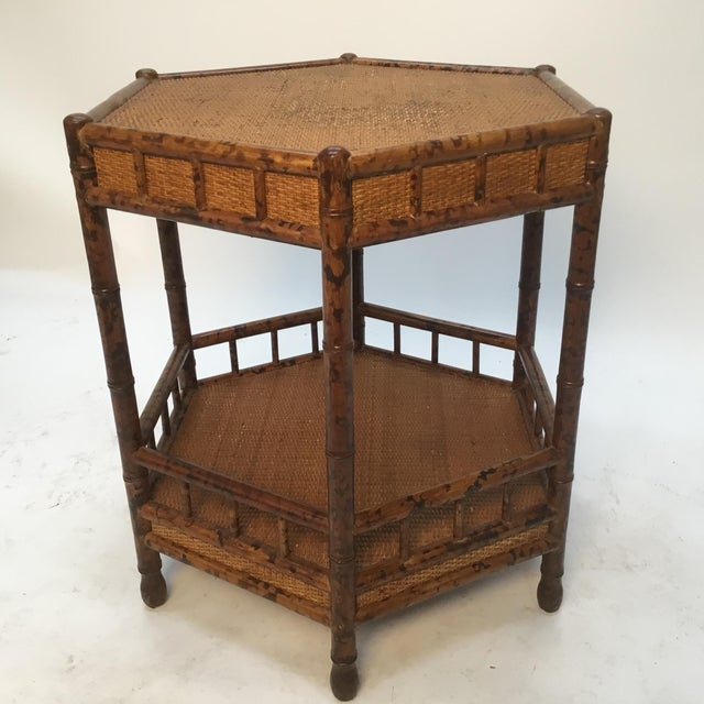 1960s Asian Bamboo Hexagonal Occasional Table For Sale - Image 4 of 10