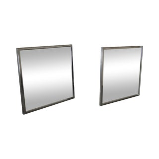 Vanguard Mid-Century Square Chrome Wall Mirrors - A Pair For Sale