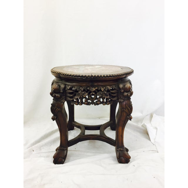 Chinese Carved Rosewood & Marble Table - Image 5 of 11