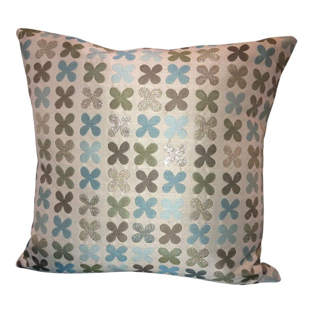 Maharam Quatrefoil Pillow in Silver - Image 1 of 5