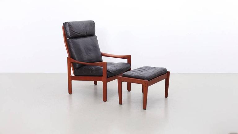 Beau Teak And Dark Brown Leather Lounge Chair And Ottoman By Danish Designer  Illum Wikkelsø For Niels. Danish Modern Illum Wikkelsø Teak Highback ...