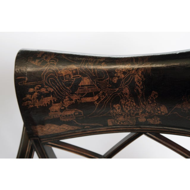 Pair of Regency Style Lacquer Arm Chairs For Sale - Image 9 of 13
