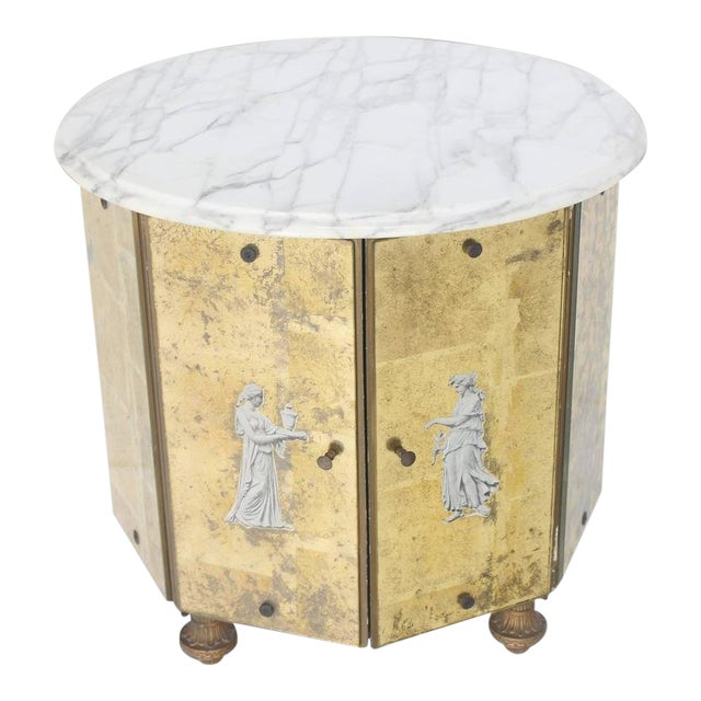 Mid-Century Modern Reversed Gold Leaf Mirrored Marble-Top Round Drum Shape Stand Cabinet For Sale