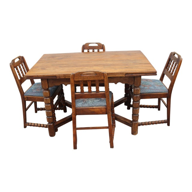 Mid-Century Rustic Solid Wood Table & 4 Chairs - Dining Set - Image 1 of 6