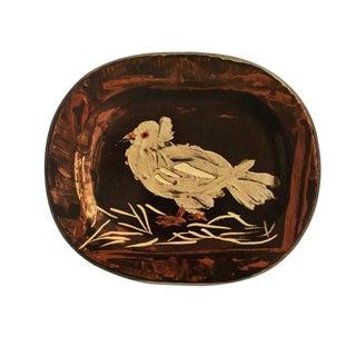 1955 Pablo Picasso Dove Ceramic Plate, Original Period Swiss Lithograph For Sale