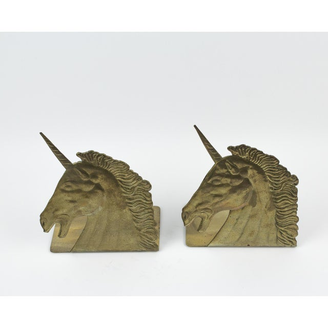 1970s 1970s Brass Unicorn Bookends - a Pair For Sale - Image 5 of 8