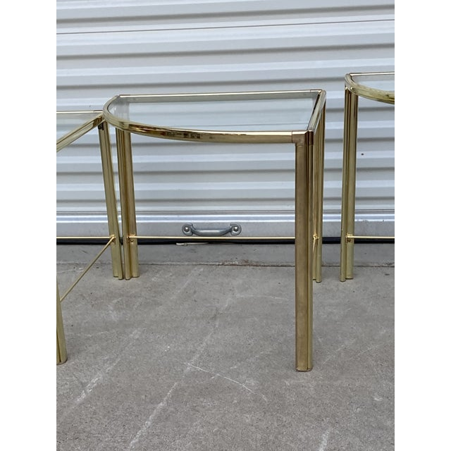 Gold Mid Century Milo Baughman Glass Top Corner Nesting Tables - 3 Pieces For Sale - Image 8 of 11