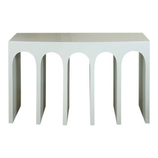Minimalist Curved Front Arch Console in Pale Blue by Martin and Brockett For Sale