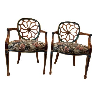 Late 20th Century Spider Web Motif Wood & Upholstered Arm Chairs- A Pair For Sale