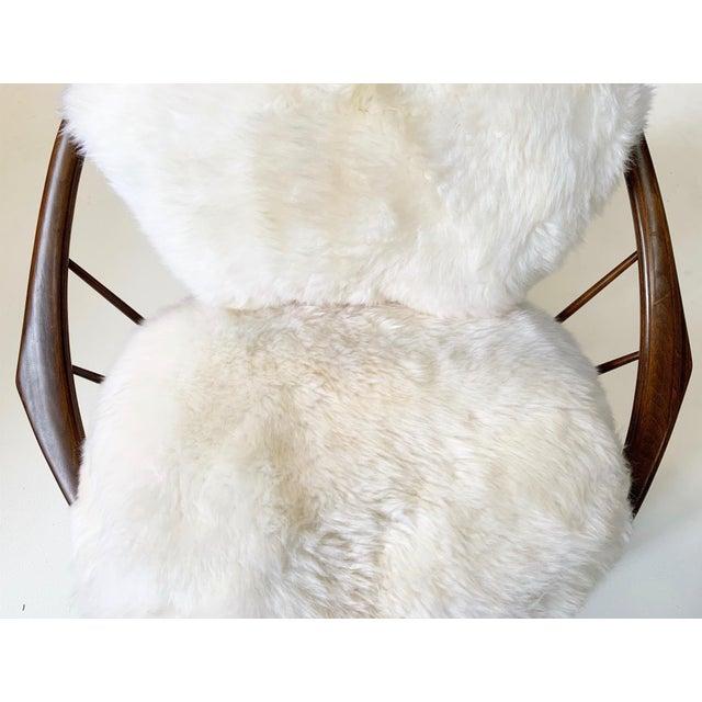 Ib Kofod-Larsen Ib Kofod-Larsen Bentwood Lounge Chairs With Brazilian Sheepskin Cushions For Sale - Image 4 of 7