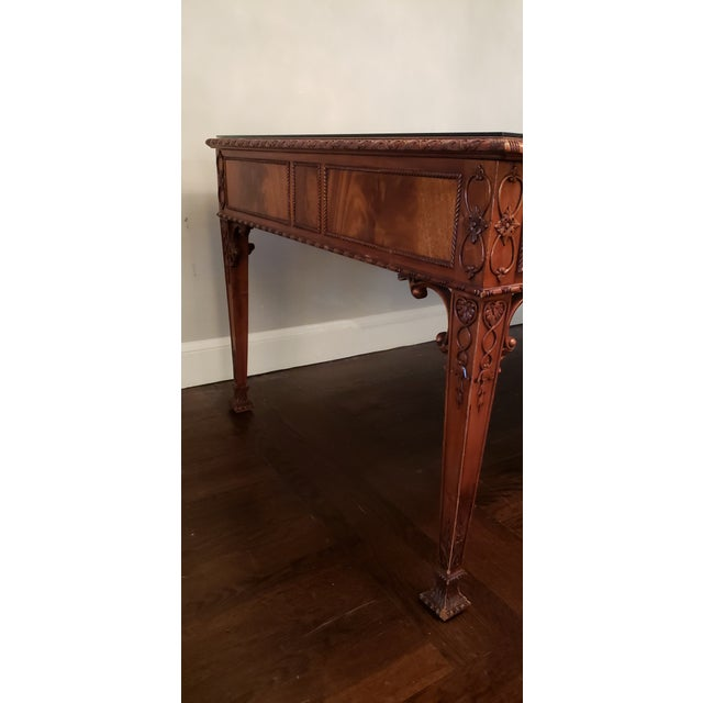 Wood English Ornate Writing Desk For Sale - Image 7 of 8