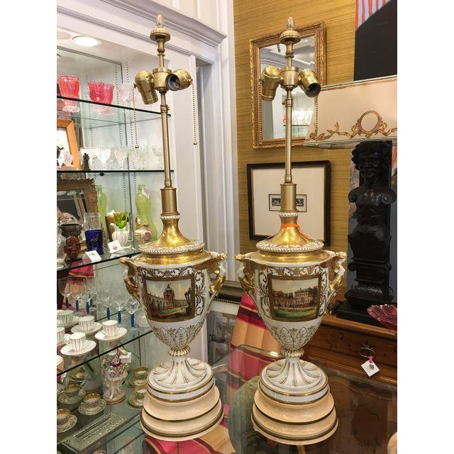 These wonderful lamps are genuine antiques and date to the 1800's. Each is a spectacular example byCarl Thieme Potschappel...