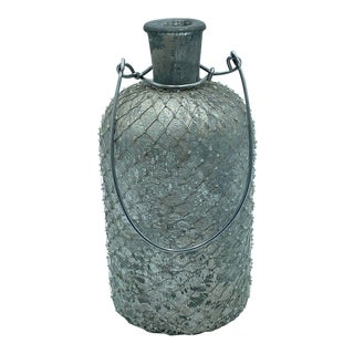 Glass and Metal Decorative Jar For Sale