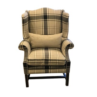 Early 21st Century Vintage Schumacher Hudson Wing Chair For Sale