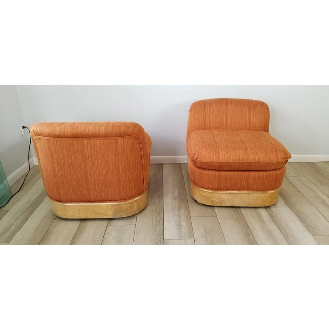 Milo Baughman for Lane Burl Wood Base Slipper Lounge Chairs - a Pair For Sale - Image 4 of 12