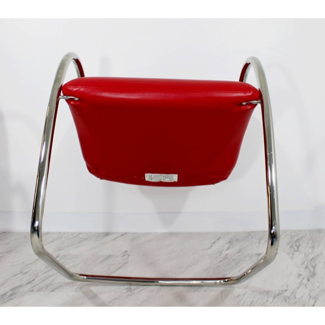 1980s 1980s Mid-Century Modern Brueton Red Leather Dining Armchairs - Set of 6 For Sale - Image 5 of 10