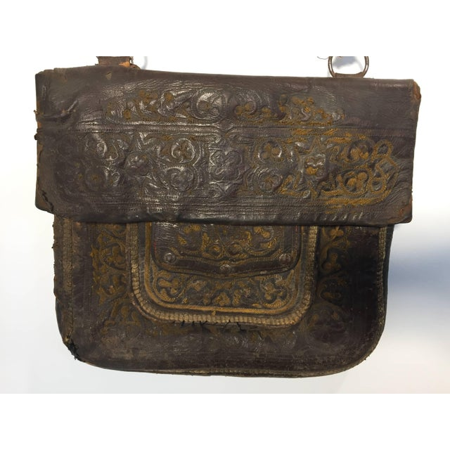 Brown African Hand Tooled Leather Tribal Shoulder Bag For Sale - Image 8 of 8