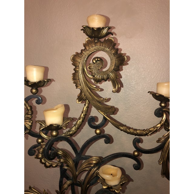 18th Century Rococo Style Iron and Brass Candle Holders by Theodore Alexander - a Pair For Sale In San Antonio - Image 6 of 13