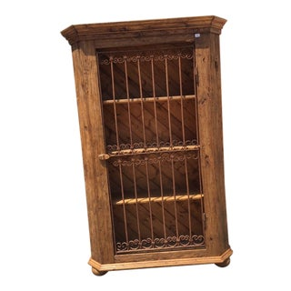European Pine Cabinet With Antique Wrought Iron Gate Door For Sale