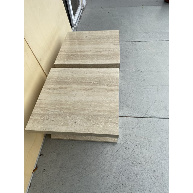 Faux Travertine Geometric Shapes Side Tables a Pair. For Sale - Image 11 of 13