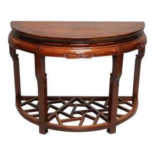 Chinese Elm Wood Demi-Lune Table For Sale