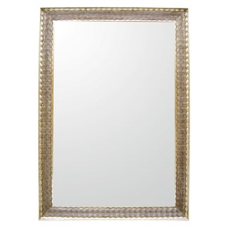 Carved Italian Napoli White Gold Giltwood Mirror by Randy Esada Designs For Sale