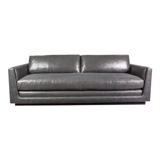 1960s Mid Century Arthur Elrod Metallic Gray Linen Sofa For Sale