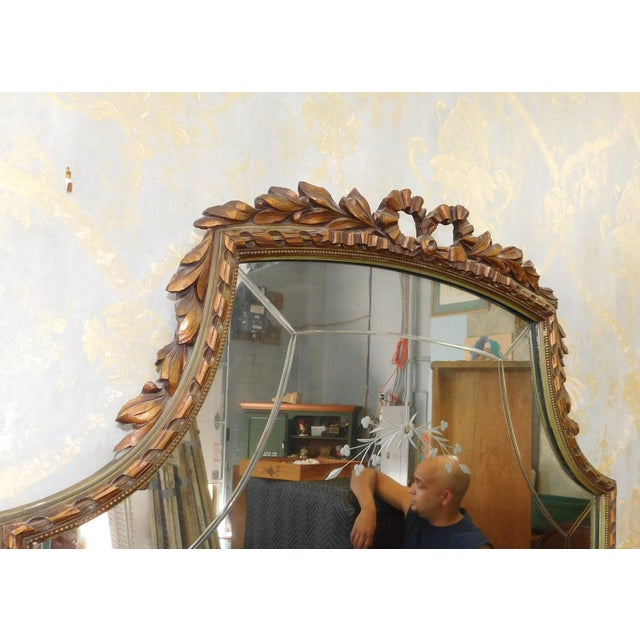 Fine 1920s French inlaid & Banded Mahogany Marble Top Bedroom Dressing Table Vanity w/ Mirror - Image 8 of 11