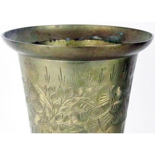 Art Deco Vintage Solid Brass & Patina Vase For Sale - Image 3 of 6