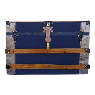 Blue Antique Travel Trunk