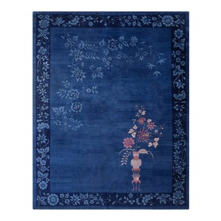 """Blue Chinese Art Deco Rug 9'0"""" X 11'8"""" For Sale"""