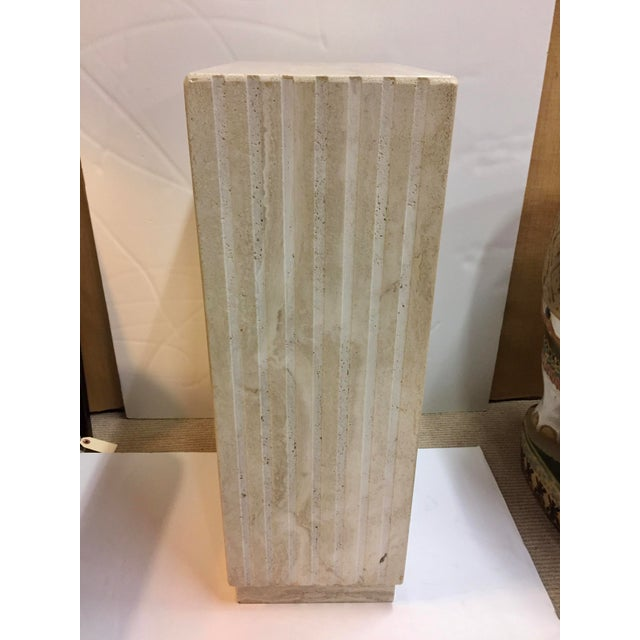 Amazing vertical cut travertine pedestal. Perfect for sculpture and works seamlessly in any room.