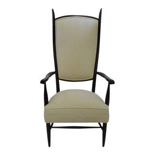 Mid-Century Modern Highback Chieftain Armchair in Ebonized Walnut For Sale