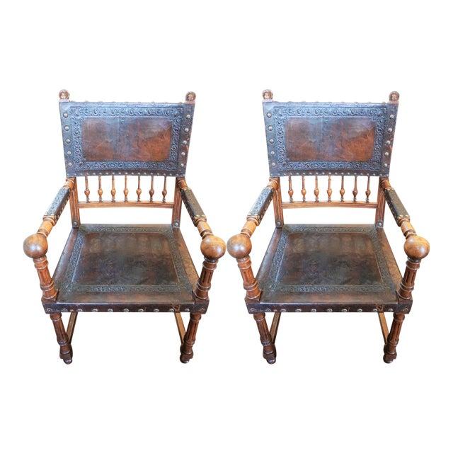 Pair of Jacobean Style Fauteuils For Sale