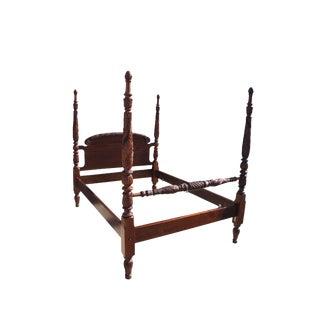 Antique Sheraton Georgian Era 4 Poster Heavily Carved Mahogany Full Size Bed