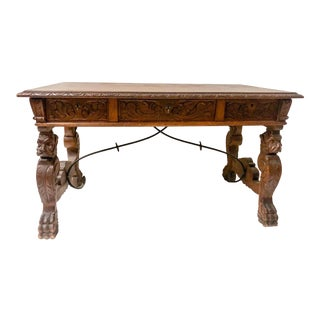 1920s Carved Walnut Continental Desk For Sale