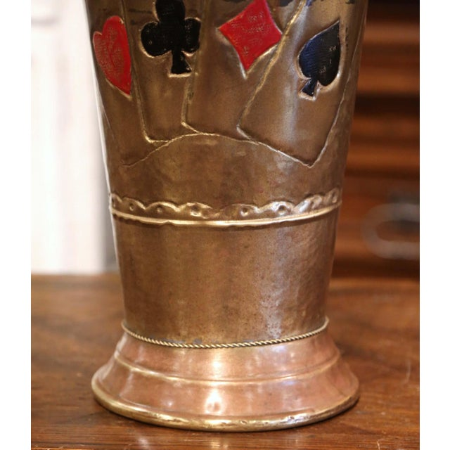 Early 20th Century French Brass Umbrella Stand With Playing Card Symbols For Sale - Image 9 of 13